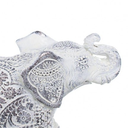 Figura elefante blanco-plata 15,00x5,50x10,00cm